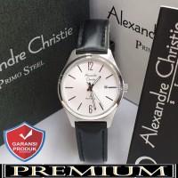 Jam Tangan Wanita Alexandre Christie AC 1009 Leather Silver Original