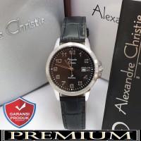 Jam Tangan Wanita Alexandre Christie AC 1008 Leather Silver Black Ori