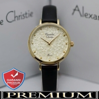 Jam Tangan Wanita Alexandre Christie AC 2728 Leather Gold Black Ori