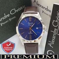 Jam Tangan Pria Alexandre Christie AC 1009 Leather Silver Blue Ori