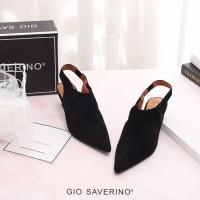 GIO SAVERINO selena black sandal santai heels rendah - Hitam, 35