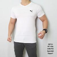 F8731 Kaos Gym Kaos Fitness Kaos Olahraga Kaos Casual Pria Puma Putih