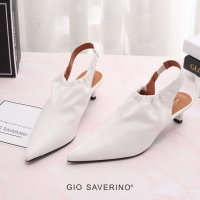 GIO SAVERINO selena white sepatu sandal heels rendah - Putih, 35