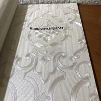 Wallpaper Dinding Murah Klasik Putih 3D Metalik Mewah