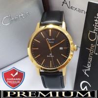 Jam Tangan Pria Alexandre Christie AC 1007 Leather Gold Black Ori