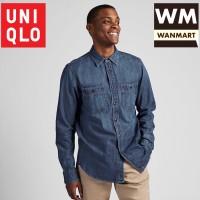 UNIQLO Men Shirt Kemeja Pria Denim Work Lengan Panjang Blue