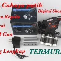 PAKET Headlamp Cree XML- T6 5000 Lumens Senter Kepala 18650 + Charger - Cahay Putih