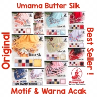 NEW! Kerudung Umama Butter Silk Motif Segiempat Hijab Jilbab Poly Voal