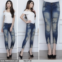 Celana Jeans Wanita 7/9 / Celana Cewek Ripped Jeans Size 27-30 / 7999