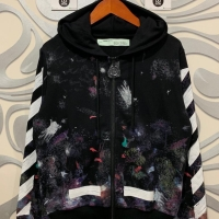 Ready stock Off White Hoodie Zipper / Zip Up Galaxy Brushed