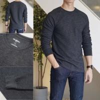 Goodfellow Crewneck Textured Sweatshirt Dark Grey Original Kaos Waffle