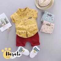 Set Baju Pakaian Bayi Anak Laki-Laki Gaul Tren Kemeja Celana Korea