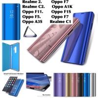 Flip cover mirror case oppo F1S F11 F5 A1K A3S F7 realme 2 C2 C1 lock