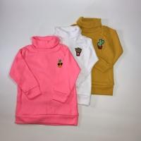 Turtle neck sweater mustard/ pink neon/ putih anak 1 2 3 4 5 tahun