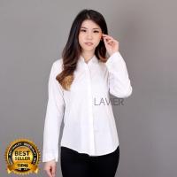 KEMEJA JUMBO KATUN Panjang Wanita / Kemeja Putih Kerja Kantor wanita 2 - Putih, XL