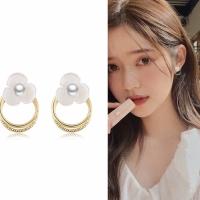 Anting Korea Wanita Gold Aksesoris Premium Circle Flower