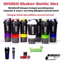 Botol Minum Smart Shaker Spider 3in1 Suplemen Fitness Gym Whey Gainer