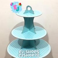 Standing Cupcake Polkadot Biru / Stand Cup Cake Polkadot / 3Tier Stand
