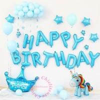 SET balon foil 3D unicorn / birthday dekorasi pony / ulang tahun