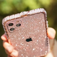 Case bumper glitter bling mewah iphone 11 11 pro 11 pro max logo apple
