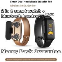 Jam Tangan Smart watch headset earphone wireless bluetooth 2in1 sport