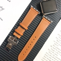 STRAP JAM KULIT APPLE WATCH LEATHER BAND BUTTERFLY DEPLOYMENT HERMES - Hitam
