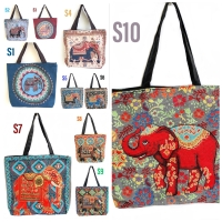Tas tote bag wanita canvas thailand elephant S-series import
