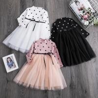 Polka Tutu Ball Gown Dress for Baby / Dres Bayi Pesta - S - PEACH