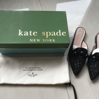 Kate Spade Betty Black Glitter Mules Shoes Size US 6