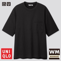UNIQLO U Men T-Shirt Kaos Pria Oversized Crew Neck Lengan Pendek Black