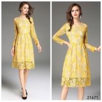Dress Pesta Midi Lace Kuning Abu / Long Glitter Black
