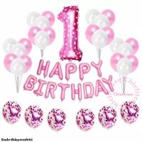 Set paket balon anak ulang tahun birthday pink biru confetti cewe cowo