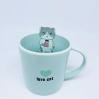 mug / cangkir keramik kucing love cat pastel colour edition tosca