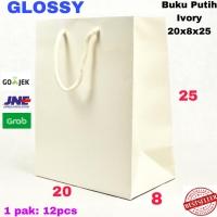 (LUXURY) Goodie Bag Buku Ivory GLOSSY Tebal 20x8x25 TasKertas paperbag