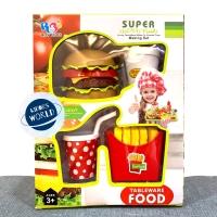 Mainan Edukasi Tableware Food Set Burger Kentang Minum Stacking Burger