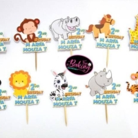 Animals Cupcake Topper Custom Nama / Zoo / Hewan