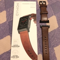 NOMAD HORWEEN LEATHER MODERN STRAP FOR APPLE WATCH 44mm 42mm BROWN