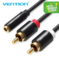 Vention R01 Kabel Aux 3.5mm Female To 2 RCA Male Stereo Gold Plated