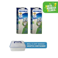 Susu UHT FC Indomilk Plain 1000 ml X 2 Pcs free Container