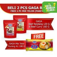 GAGA Beef Rendang 1pc, GAGA Beef Curry 1pc FREE Mie Telor A1 (GG55)
