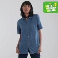 Edwin Jeans Kemeja Denim Jeans Ayako 02 Lengan Pendek - Ladies