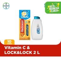 Redoxon Vitamin C, D & Zinc 10 Tablet & LOCK&LOCK 2 L Biru