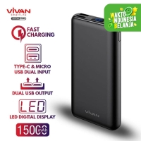 VIVAN Power Bank 15000mAh LED Digital - Powerbank Vivan Dual Input H15