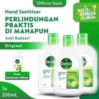 Dettol Hand Sanitizer Original 200 ml x3pcs Flip top Bottle FREE 100ml