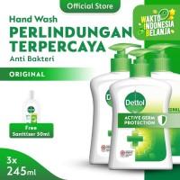 Dettol Hand Wash Pump Original 245ml (3pcs) FREE Sanitizer 50ml