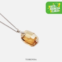 Torenda Kalung Liontin Big Graphic Pendant with Swarovski - Emas