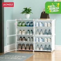 AONEZ Rak sepatu kain lemari sepatu 9 Susun - Putih, All Size