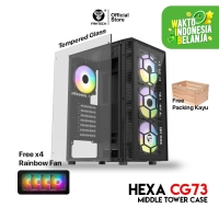 Fantech HEXA CG73 Tempered Glass Casing Komputer PC Gaming Case Temper