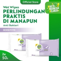 Dettol Wipes Sensitive - isi 50 lembar x 2 pcs - Tisu Basah Anti Kuman