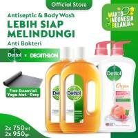 Dettol Antiseptic 750ml + Peach Bodywash FREE Decathlon Yoga Mat